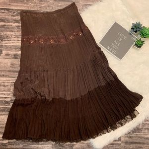 Cache Boho Sequins and Lace Skirt NWT